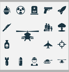 army icons set collection of panzer target vector image