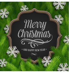 Chalkboard with christmas greeting and paper vector image