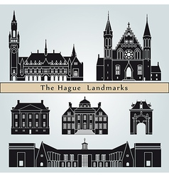 The hague landmarks and monuments vector
