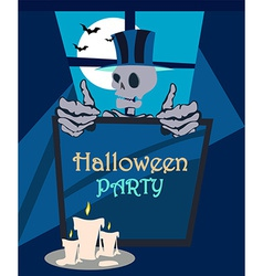 Halloween party skeleton background vector image