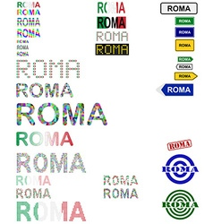 Roma text design set vector