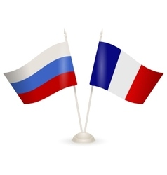 Table stand with flags of russia and france vector