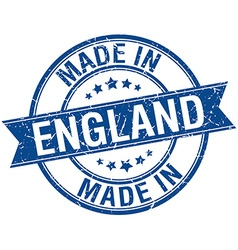 Made in england blue round vintage stamp vector