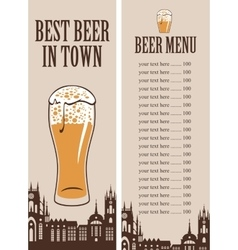 price lists for a glass of beer vector image