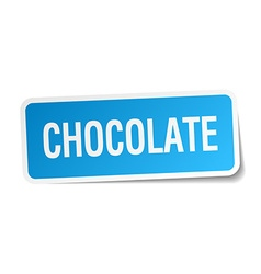 Chocolate blue square sticker isolated on white vector