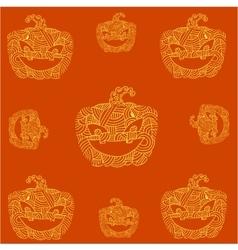 Halloween pumpkins doodle art orange backgrounds vector