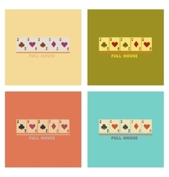 assembly flat icons poker full house vector image