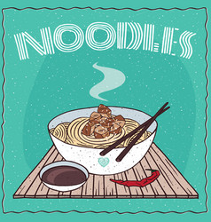 Asian noodles ramen or udon with chicken vector
