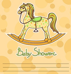 Baby Shower card with horse toy vector image