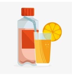 Bottle protein juicy orange health sport vector