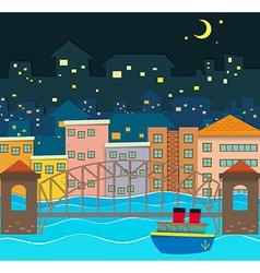 Bridge over the river scene at night vector image vector image