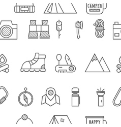 Camp travel seamless pattern with thin line icon vector