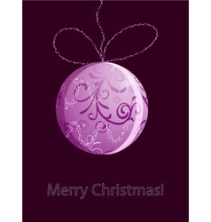 christmas card with shiny pink ball vector image vector image