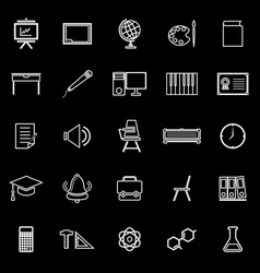 Classroom line icons on black background vector