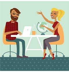 Couple planning next trip vector image