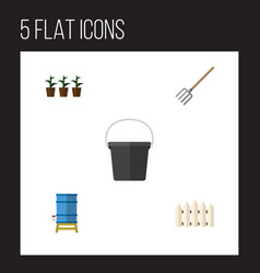 Flat icon farm set of hay fork flowerpot wooden vector