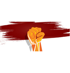 Indonesia independence hand fist in with flag vector