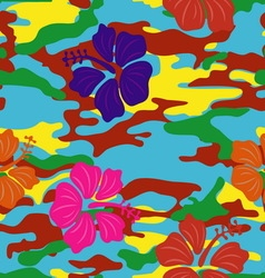 Multicolored hibiscus on the military background vector