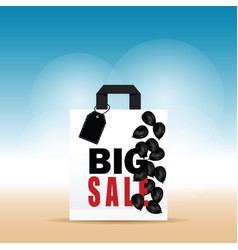 Paper bag white with big sale and balloon on it vector