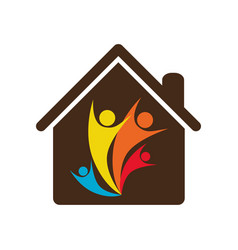 People family together inside house icon vector