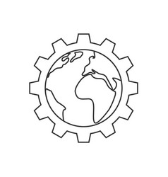 Planet inside the gear line icon vector