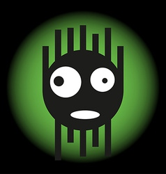 Scared cute monster in the light of a searchlight vector image