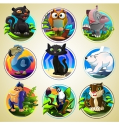 Set of differend cartoon animals vector