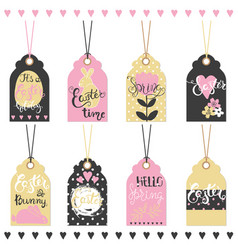 set of easter hand drawn lettering tags vector image