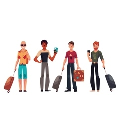 Set of young handsome male travelers with luggage vector