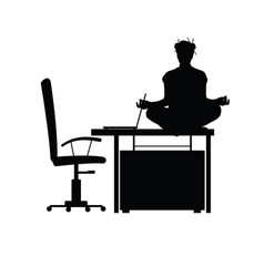 Woman sitting on workplace and meditating vector
