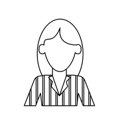 Woman with elegant business suit stripe thin line vector
