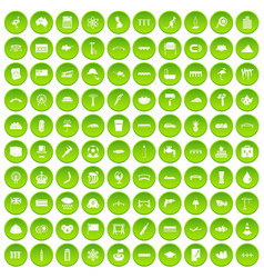 100 bridge icons set green circle vector
