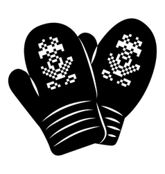 Pair of knitted mitten icon simple style vector