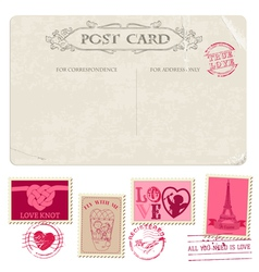 Vintage Postcard and Postage Stamps - for wedding vector image