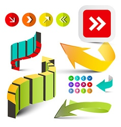 Colorful arrows set 3d arrow icons isolated on vector