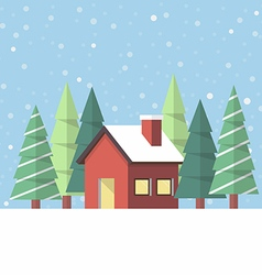 Winter house in flat style vector