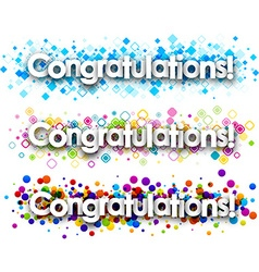 Congratulations colour banners set vector