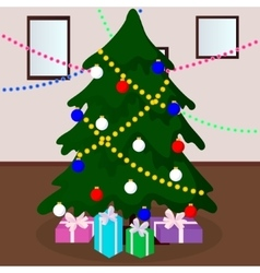 Decorated christmas tree with gifts vector