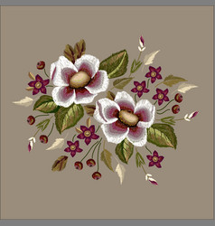 Frame flowers embroidery patch vector