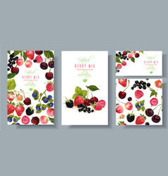Berry mix banners set vector