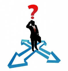 Question businessman indecision direction arrows vector