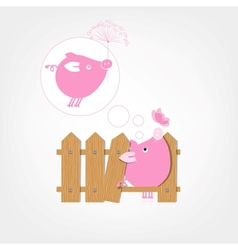 Wooden Boards Fence Piggy vector image