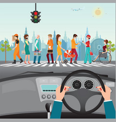 Human hands driving a car on asphalt road with vector