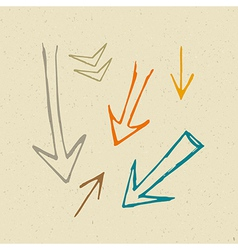 Hand drawn arrows on recycled paper background vector