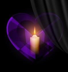Dark heart-crystal and candle vector