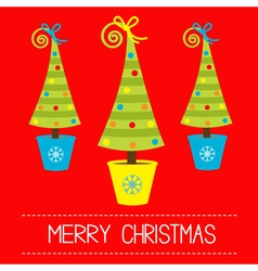 Three christmas tree in pot merry christmas card vector