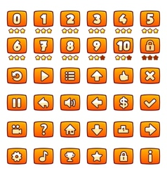 Orange game buttons set vector