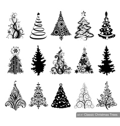 Set of dreawn christmas trees vector