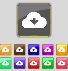 Download from cloud icon sign set with eleven vector