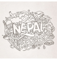 Nepal country hand lettering and doodles elements vector